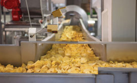 potato chips on a conveyor
