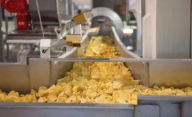 potato chips on a conveyor