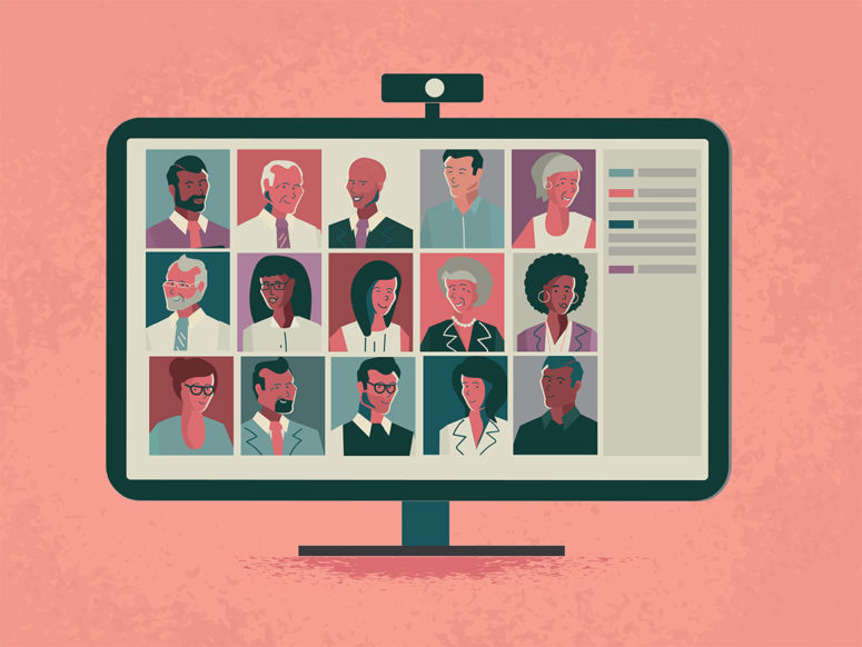 vector version of a video chat meeting