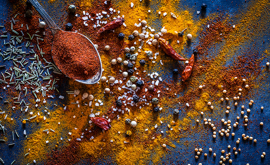 spices and a spoon