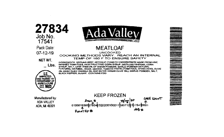 Ada Valley Gourmet Foods, Inc. Recalls Beef Products Due to Possible Foreign Matter Contamination
