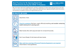 FDA issues reopening best practices checklist and infographic for retail food establishments that closed or partially closed due to COVID-19 pandemic