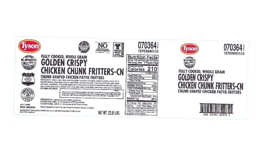 Tyson Foods, Inc. Recalls Ready-To-Eat Chicken Fritter Products due to Possible Foreign Matter Contamination