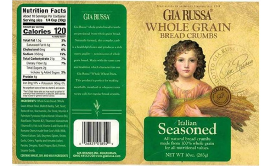 ICCO Cheese Company, Inc., Issues Allergy Alert on Undeclared Walnuts and Pecans in Gia Russa Whole Grain Bread Crumbs