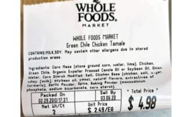 Allergy Alert Issued for Undeclared Milk in Green Chile Chicken Tamales Sold at Whole Foods Market Stores in Multiple States