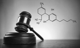 Gavel and Chemical Structure of Cannabidiol