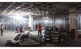 Social distancing at a Gray construction site meeting