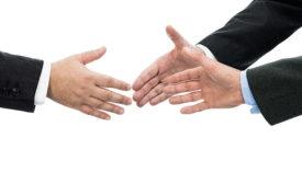 handshake in greeting or deal making